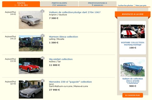 site annonces voitures de collection auto collection. Black Bedroom Furniture Sets. Home Design Ideas
