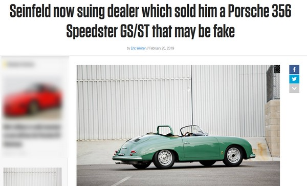 L'acteur Jerry Seinfeld met en cause un célèbre vendeur de 356 californien